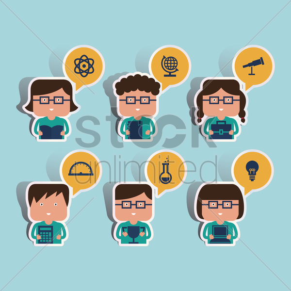 collection of students with class subjects in their speech bubble vector graphic