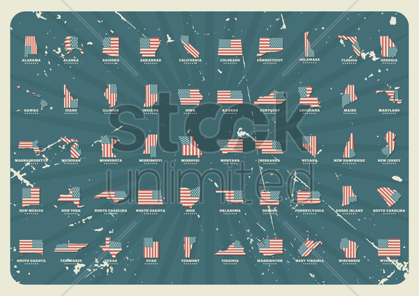 collection of united states maps vector graphic