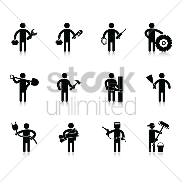 collection of various occupation vector graphic