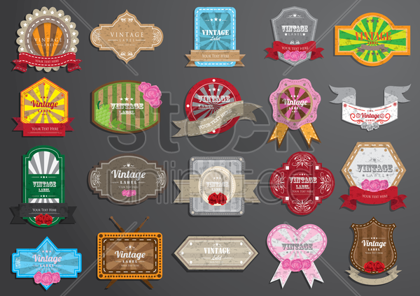 collection of vintage label vector graphic
