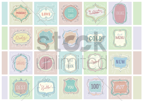 collection of vintage labels vector graphic