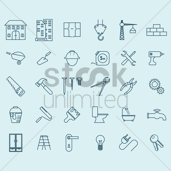 construction icons vector graphic