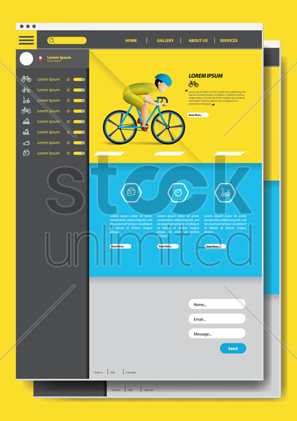 cycling website design vector graphic