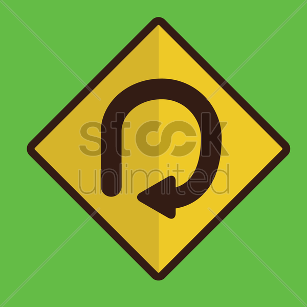 degree loop road sign vector graphic