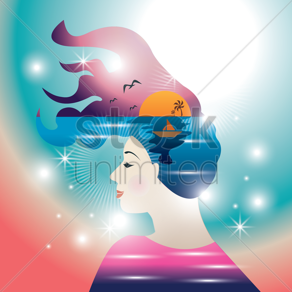 double exposure of woman with sea scenery vector graphic