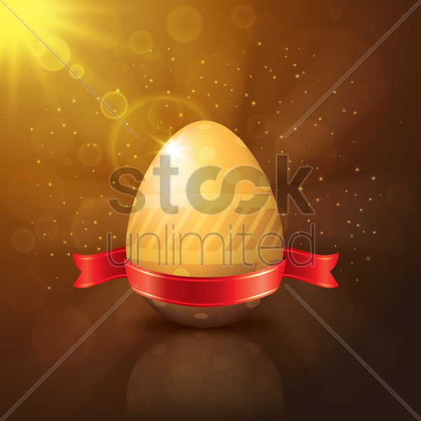 easter egg with bow ribbon vector graphic