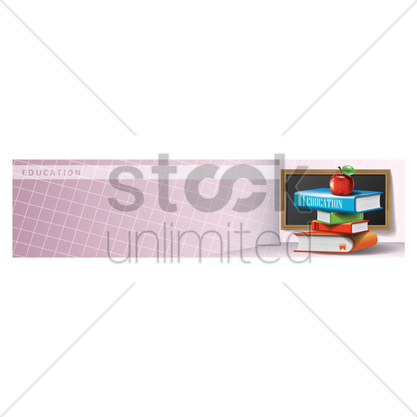 educational supplies on a banner vector graphic