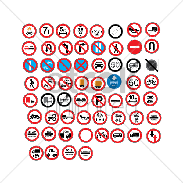 european traffic icons vector graphic