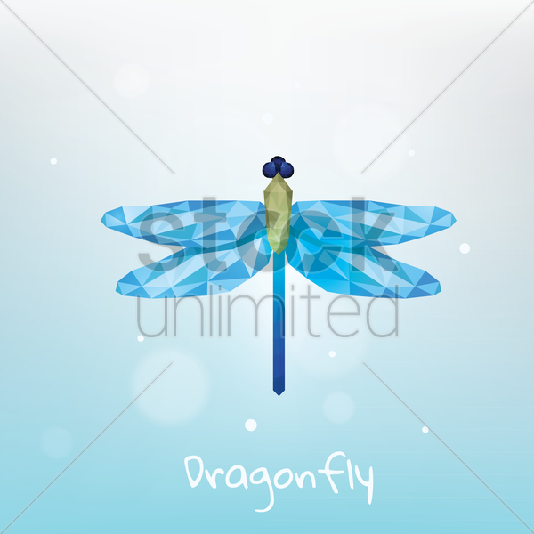 faceted dragonfly vector graphic