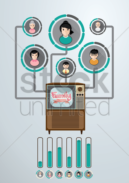 Free family connected to a television vector graphic