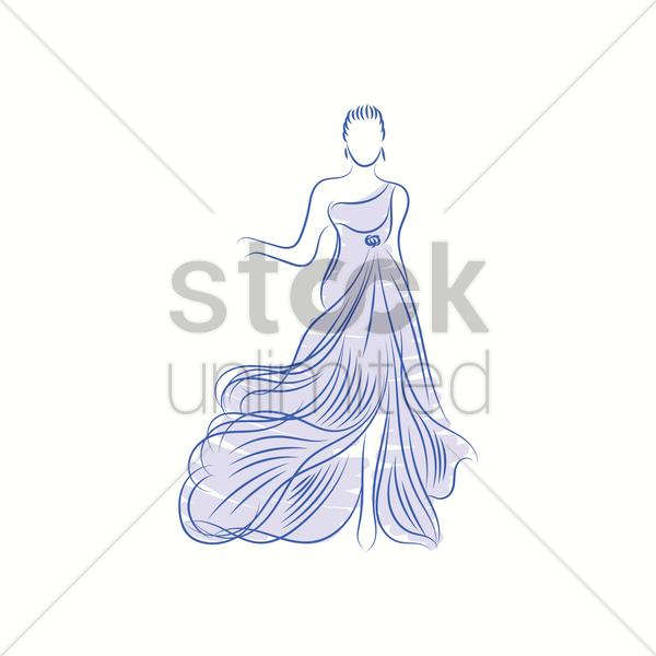 Fashion model in elegant dress sketch Vector Image - 2000652 ...