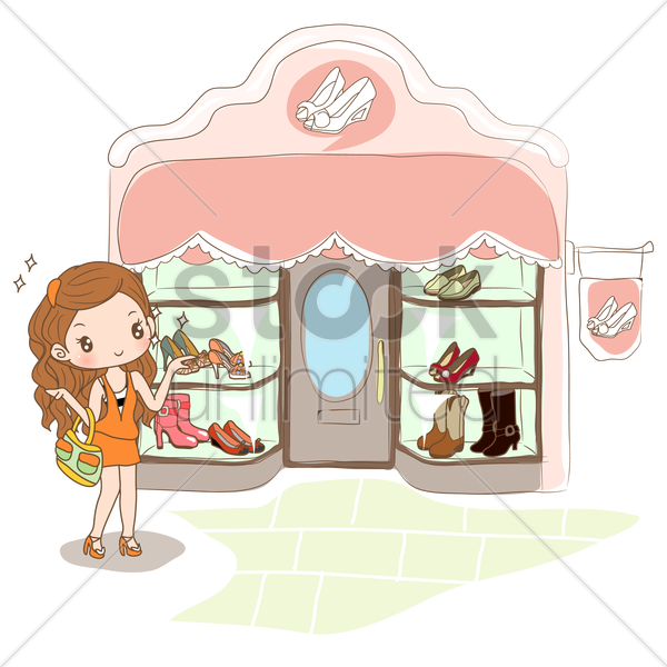 girl shopping for new shoes vector graphic
