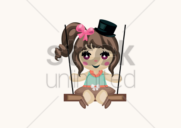 girl sitting on a swing vector graphic