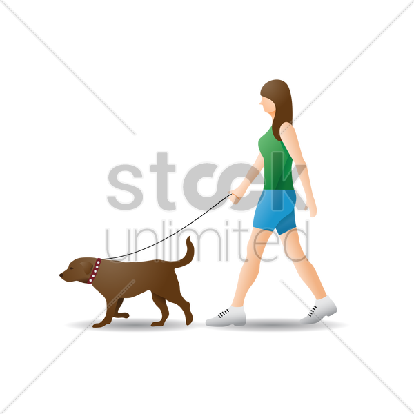 girl taking dog for walk vector image 1548784 stockunlimited girl taking dog for walk vector image