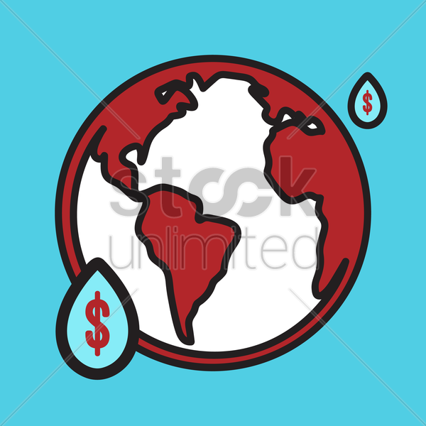 globe with water drops vector graphic