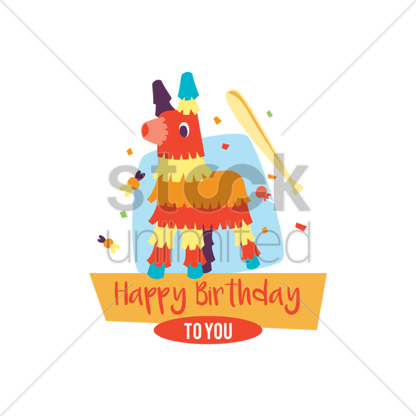 Happy Birthday Card With Pinata Vector Image 1803156 Stockunlimited
