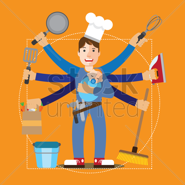house husband and his chores vector graphic