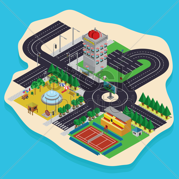isometric city planning design vector graphic