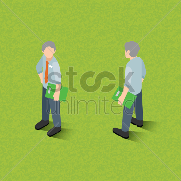 isometric men holding file vector graphic