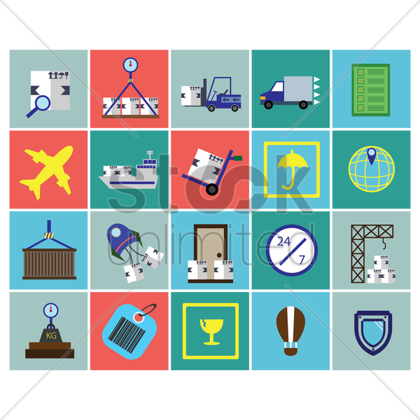 logistic icons vector graphic