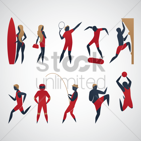 man and woman doing different activities vector graphic