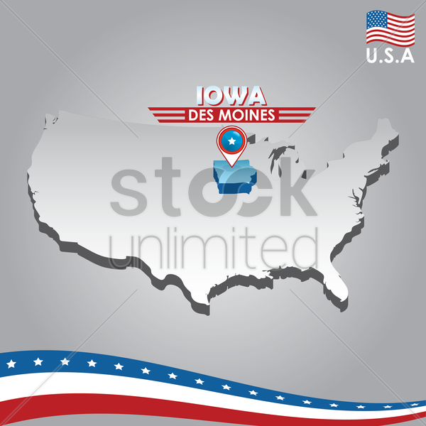 navigation pointer indicating iowa on usa map vector graphic