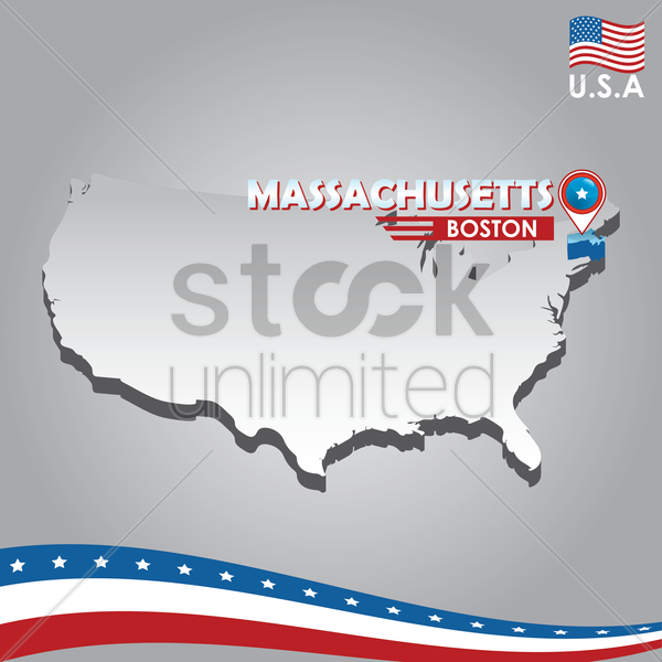 navigation pointer indicating massachusetts on usa map vector graphic