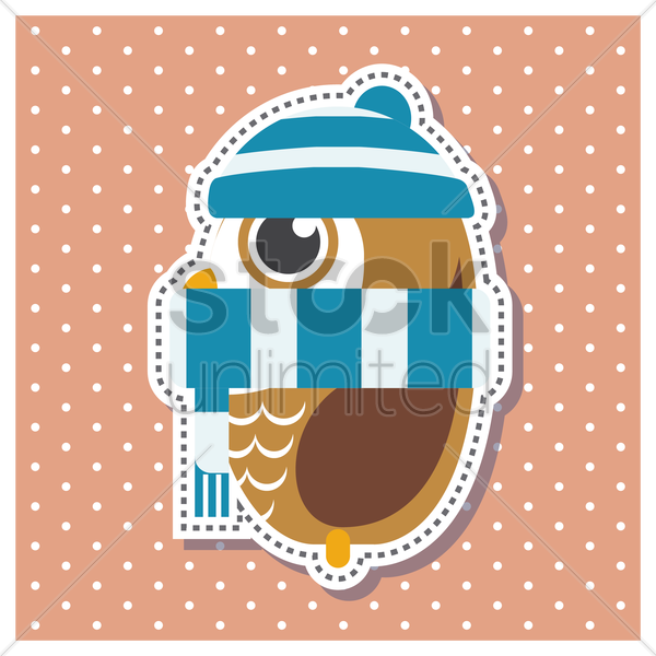 Free owl in winter vector graphic