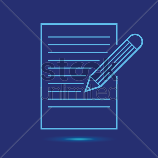 paper with pen icon vector graphic