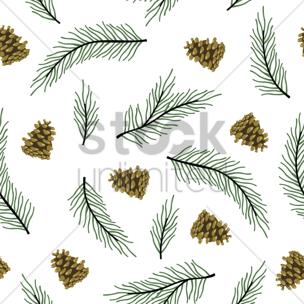 pine leaves and cones background vector graphic