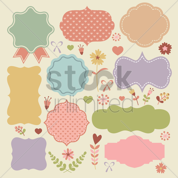 retro labels collection vector graphic
