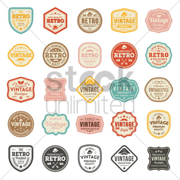 retro product badge collection vector graphic