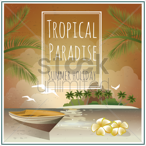 seaside and island holiday poster vector graphic