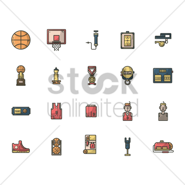 set of basketball icons vector graphic
