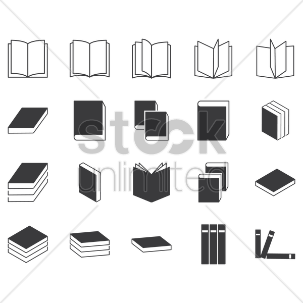 set of books icon vector graphic