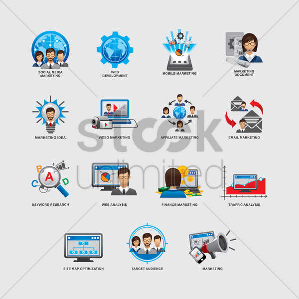 set of business and strategy icons vector graphic