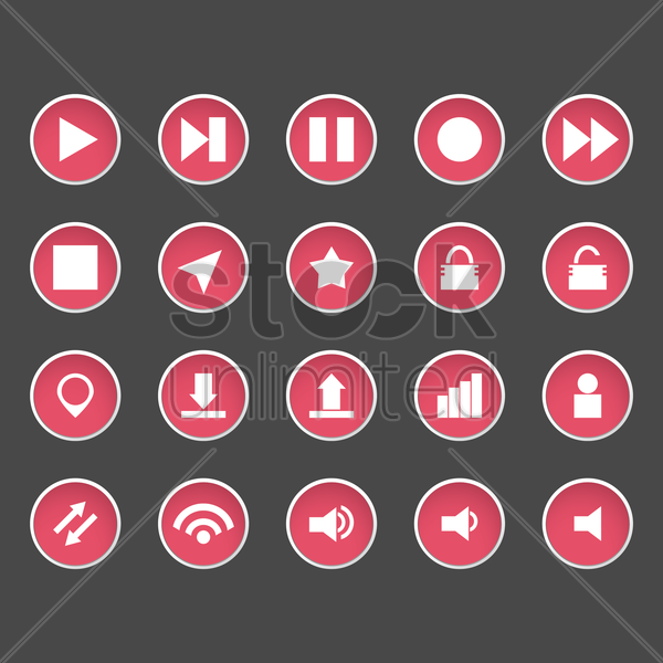set of button icons vector graphic