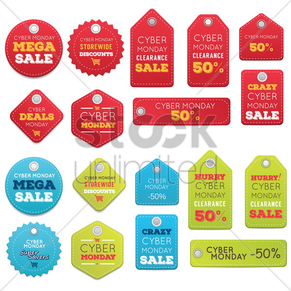 set of cyber monday sale tags vector graphic