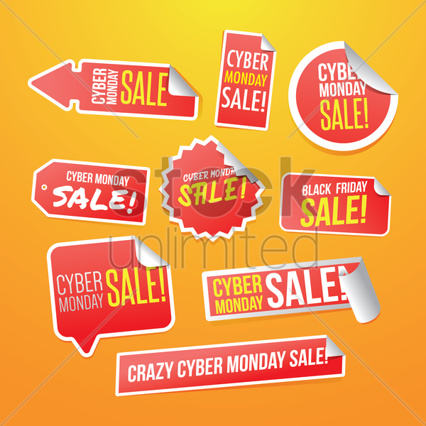 set of cyber monday stickers vector graphic