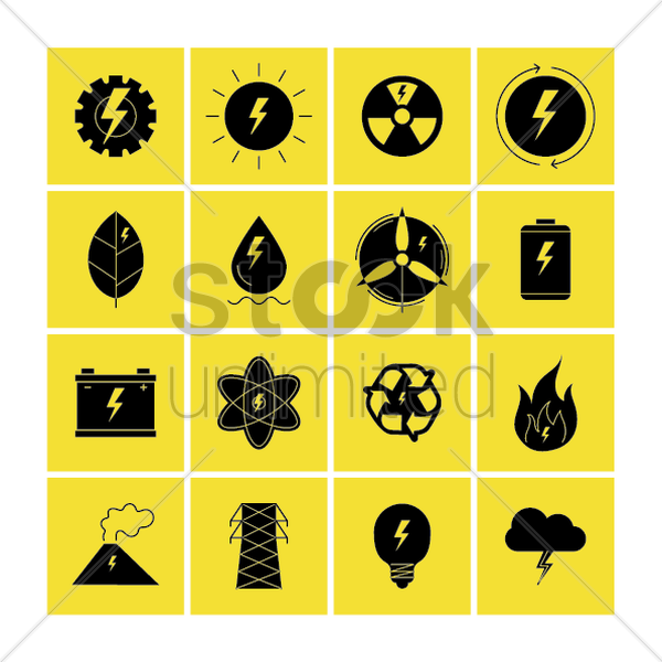set of energy generator elements vector graphic