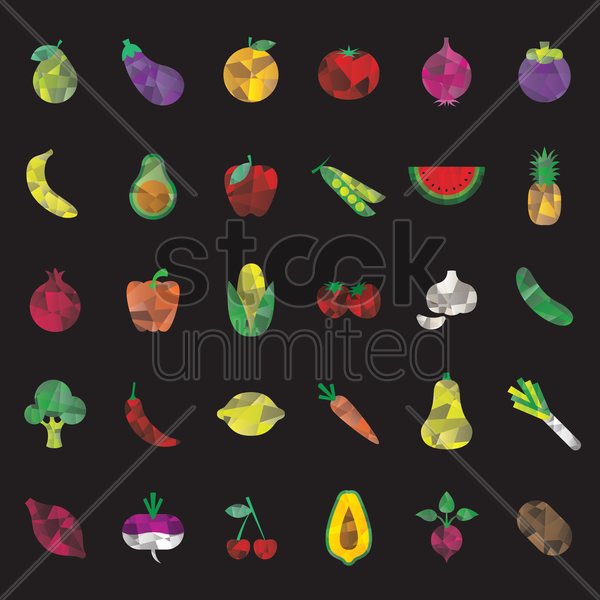 set of faceted fruits and vegetables vector graphic