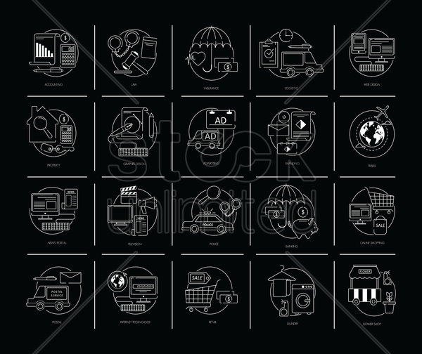 set of flat design icons vector graphic