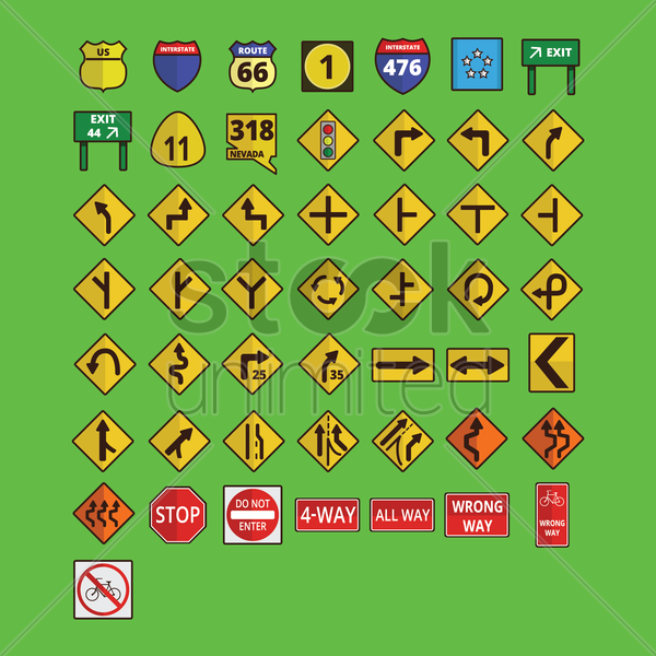 set of road signs vector graphic