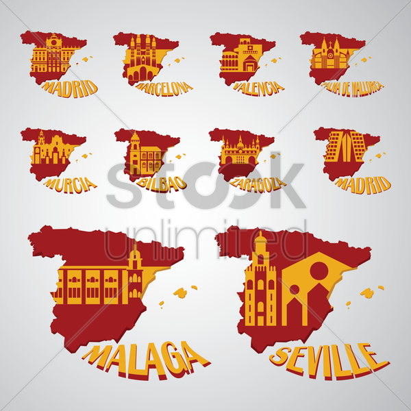 set of spain map with landmarks vector graphic