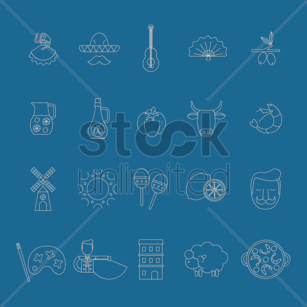 set of spanish icons vector graphic