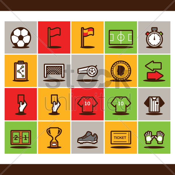 soccer icons vector graphic