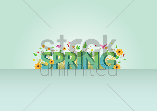 spring lettering design vector graphic