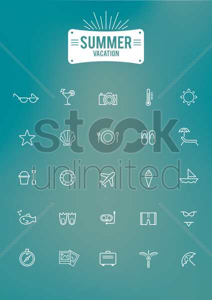 summer vacation icon set vector graphic