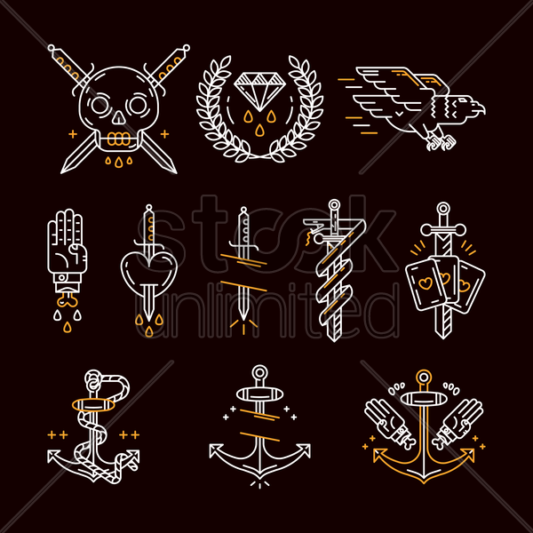 tattoo icon set vector graphic