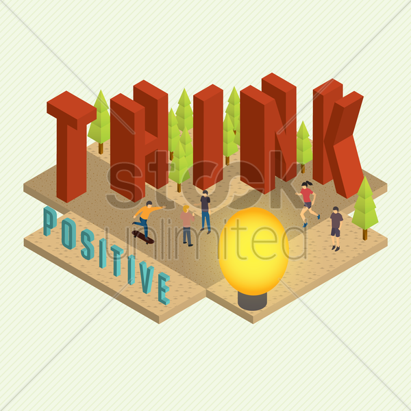 think positive quote vector graphic